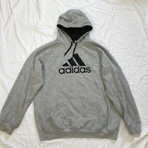 Adidas Mens size L Gray Fleece Hoodie Sweatshirt